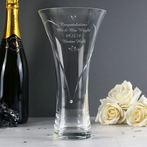 Personalised Hand Cut Little Hearts Diamante Vase with Swarovski Element